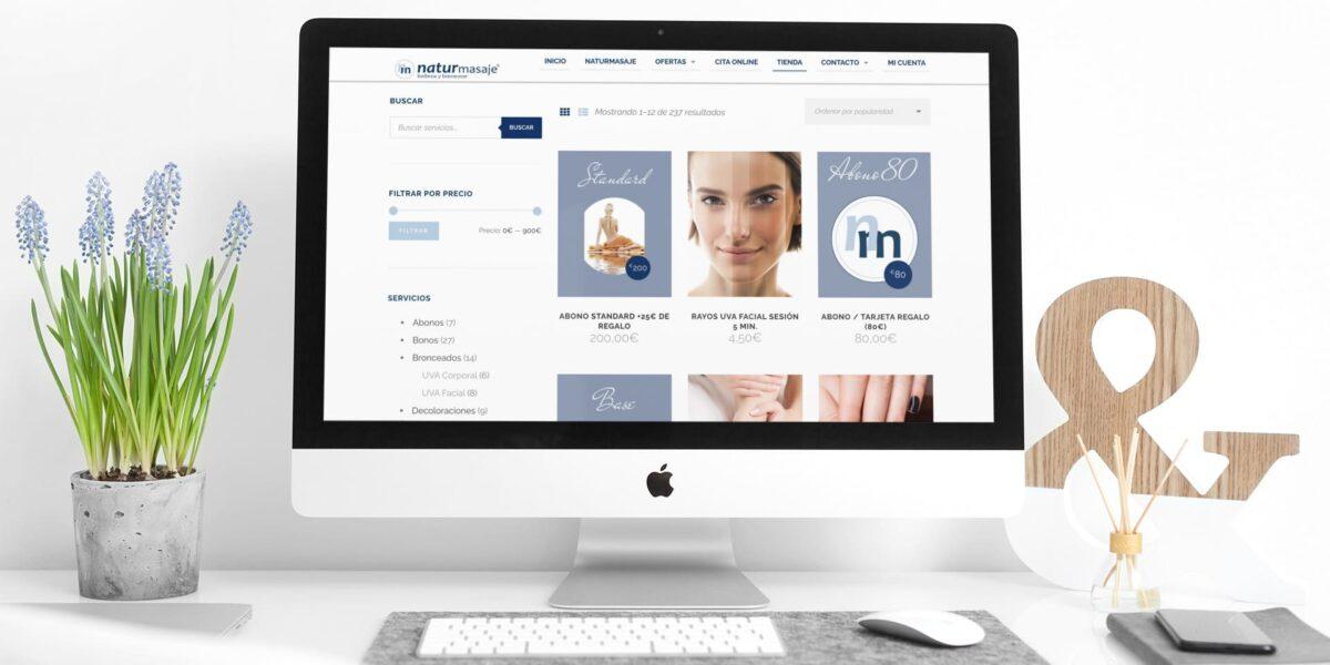 diseño tienda online naturmasaje shop